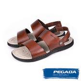 【PEGADA】巴西名品時尚真皮紳士涼鞋  咖啡(131262-BR)