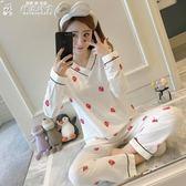 睡衣女棉質長袖秋季韓版可外穿甜美可愛少女家居服兩件套全棉學生