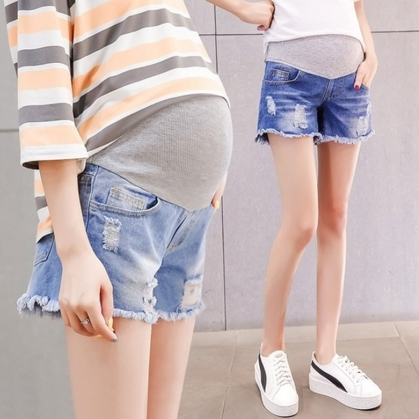 漂亮小媽咪 孕婦短褲 【P6611】 牛仔短褲 抽鬚 刮破 高腰 顯瘦 破洞 孕婦托腹褲 牛仔褲