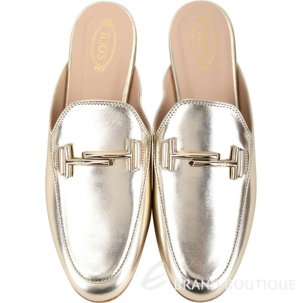 TOD'S Double T 金屬設計牛皮穆勒鞋(女鞋/香檳色) 1930226-24