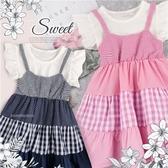 小甜甜-波點格紋拼接假二件棉質短袖上衣小洋裝-2色(290013)【水娃娃時尚童裝】