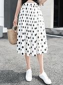 百褶裙 半身裙女夏2020新款a字百褶裙中長款黑白波點顯瘦小個子高腰裙子