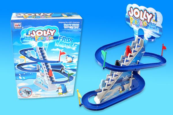 *幼之圓*㊣迪高企鵝音樂電動樓梯軌道組~ 企鵝爬樓梯溜滑梯