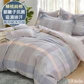 義大利La Belle《西格里》加大純棉防蹣抗菌吸濕排汗兩用被床包組