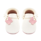 學步鞋 Little Lambo 真皮手工蝴蝶結學步鞋 嬰兒鞋 皮鞋 - 粉白蝴蝶 Fly Away