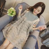 孕婦裝 (長袖連身裙)-刺繡花朵時尚高雅女連衣裙2色73mx3【時尚巴黎】