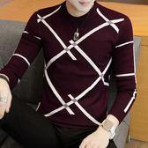 秋冬季男士毛衣青年薄款針織衫潮流圓領打底男裝韓版修身毛線衣服  提拉米蘇