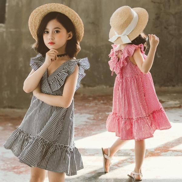 *╮小衣衫S13╭中大童夏季V領花邊格紋連身裙洋裝1090412