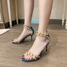 一字帶高跟鞋女2021年新款夏季鉚釘羅馬風格網紅細跟鏤空中空涼鞋