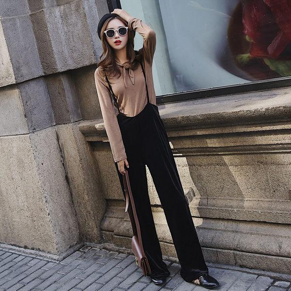 VK精品服飾 韓系時尚氣質百搭背帶褲復古寬口褲套裝長袖裙裝