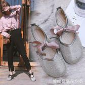 新款韓版水鑽滿鑽蝴蝶結圓頭休閒鞋奶奶鞋娃娃鞋學生單鞋女鞋 糖糖日系森女屋