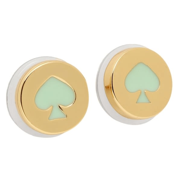 KATE SPADE 金X綠色黑桃圖案耳環