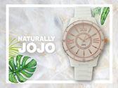 【時間道】NATURALLY JOJO 都會時尚仕女陶瓷腕錶 / 白面玫瑰金羅馬刻白陶(JO96751-80R)免運費