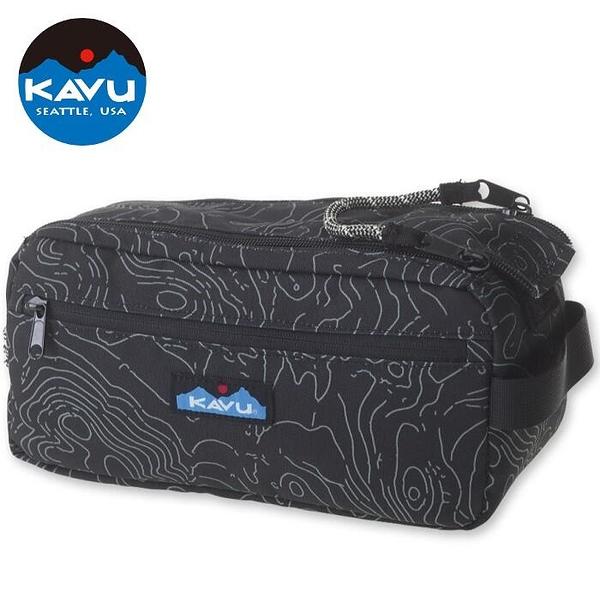 『VENUM旗艦店』KAVU Grizzly Kit 休閒拼布包/化妝包 9060-437 黑色等高線