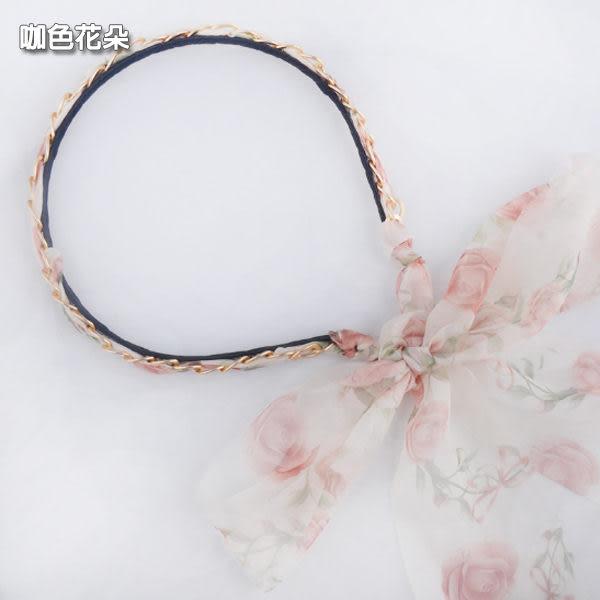 韓雜推薦飄逸花色混彩雪紡飄帶髮箍 (共6色可選)