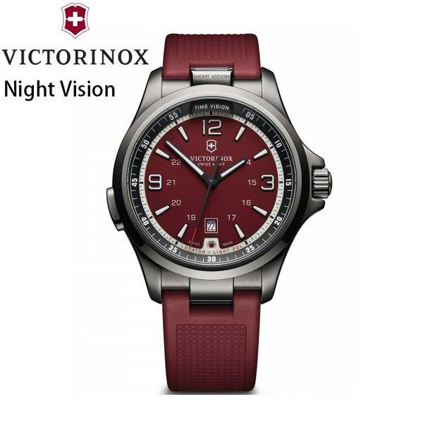 【萬年鐘錶】瑞士VICTORINOX 維氏 Night Vision LED照明運動錶 紅色橡膠帶 VISA-241717