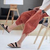 夏季泰國亞麻褲子男尼泊爾燈籠褲寬鬆七分褲大襠闊腿褲短褲沙灘褲     芊惠衣屋