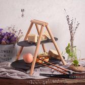 歐式蛋糕架實木天然板巖餐盤架雙層水果盤西點托盤點心盤甜品臺【快速出貨八五折免運】