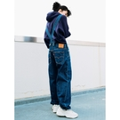 Levis 女款 牛仔吊帶褲 / Baggy 極寬鬆版型 / 兩側口袋 / 鈕釦穿脫