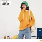 《KG0985》內刷毛撞色抽繩連帽寬鬆大學T上衣 OrangeBear