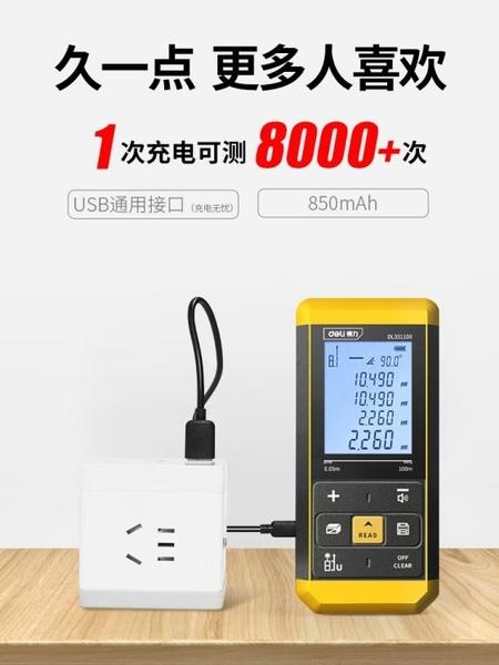 得力激光測距儀高精度手持激光尺電子紅外線測量尺室內儀器量房儀 1995生活雜貨