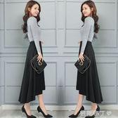 燕尾裙中長款半身裙秋季新款顯瘦長裙時尚前短後長不規則女裙子 焦糖布丁