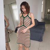 新款韓版無袖修身設計感顯瘦復古chic百搭時尚短裙吊帶連衣裙