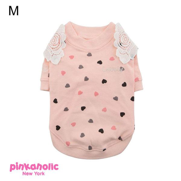 紐約《Pinkaholic》花袖子T恤 L號 小狗衣服 小型犬衣服  春裝 薄衣 馬爾濟斯/貴賓