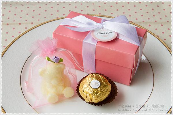 Double Love Pink盒「泰迪熊香皂+金莎」二入禮盒.甜蜜佈置.結婚婚禮小物.禮品