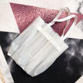 塑料防水褶皺時髦小眾設計師款單肩手提包春夏 創想數位