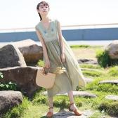 無袖洋裝裙子女夏季新款文藝寬鬆森繫長裙初中學生韓版無袖棉麻洋裝 伊莎公主