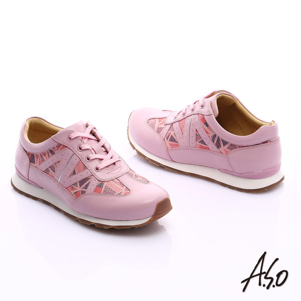 A.S.O 輕量抗震 牛皮拼接幾何奈米綁帶休閒鞋  粉紅