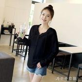 套頭連帽新連帽T恤寬鬆大碼女式裝長袖打底衫秋季中長款韓版學生上衣  「千千女鞋」