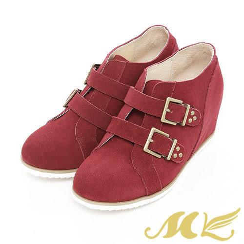 MK--牛麂皮內增高金屬扣環短靴-紅