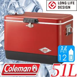 【Coleman 美國 51L 紅黑經典鋼甲冰箱】CM04320/不鏽鋼冰箱/硬式冰桶★滿額送