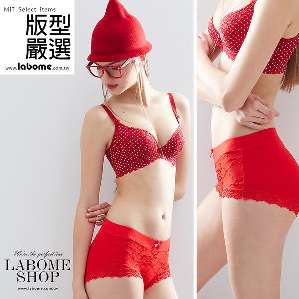 紅運菱格蕾絲四角內褲。觸膚柔軟 彈性舒適。labome拉波米內衣 MIT