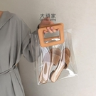 果凍包 手提包 2021新款透明防水果凍包PVC百搭休閑手提包ins人氣沙灘子母包女