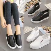 春秋季新款小白鞋懶人厚底單鞋休閒鞋一腳蹬女鞋 LQ5710『miss洛羽』