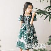 新款韓版夏季女童連身裙中大童全棉度假長裙國內新版瓷瓶花紋古風氣洋裝LZ793【甜心小妮童裝】