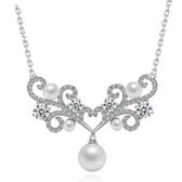 項鍊 純銀鍍白金 鑲鑽墜飾-東方之珠生日情人節禮物女飾品73ct26【時尚巴黎】