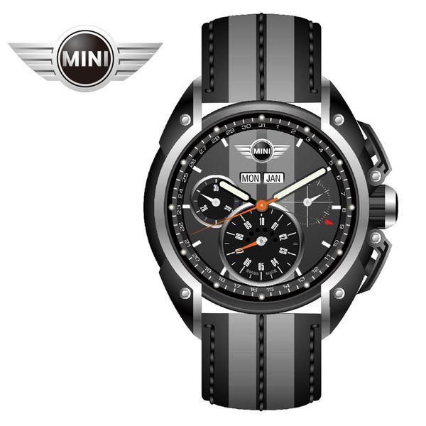 【萬年鐘錶】MINI Swiss Watches英國風格 雙灰錶面三眼外圈數字日期 灰系列雙色皮帶錶 45mm MINI-05