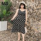 Miss38-(現貨)【A02269】大尺碼雪紡洋裝 黑色波點 V領吊帶 蛋糕裙 細肩帶連身裙 -中大碼尺女裝