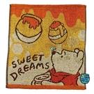 小禮堂 迪士尼 小熊維尼 純棉無捻紗短毛巾 純棉毛巾 方形毛巾 34x36cm (黃橘 抬頭) 4992272-70142