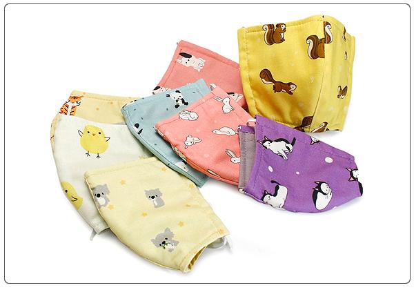 可愛純棉布口罩 動物系列 兒童專用 3層縫製 純手工製作 100%純棉進口布料 可重複使用
