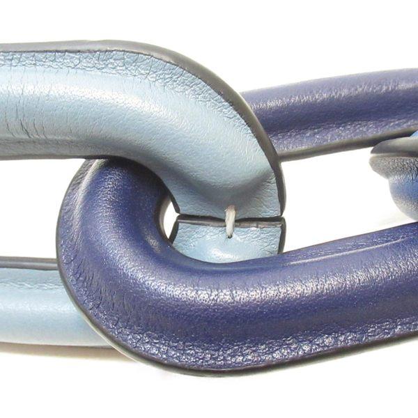 LOEWE 羅威 深淺藍色圈圈牛皮吊飾 鑰匙圈 【二手名牌BRAND OFF】
