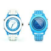 colore TWINS時尚麗彩數位指針錶M05白配藍