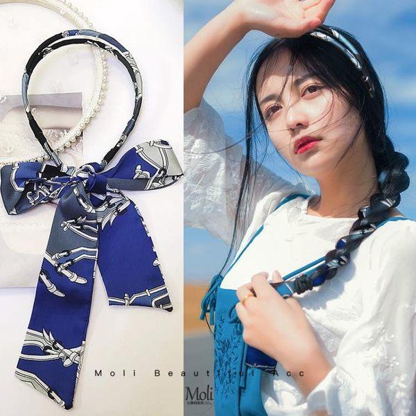 髮帶 髮帶女綁髮韓國簡約頭飾絲帶頭箍網紅超仙髮卡編髮蝴蝶結飄帶髮箍 曼慕衣櫃