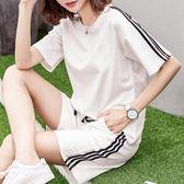 運動套裝夏時尚大碼寬鬆短袖短褲跑步服純棉休閒兩件套 法布蕾輕時尚