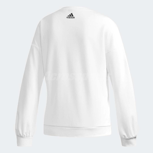adidas 大學T Badge of Sport 全白 大LOGO 女款 長袖上衣 【PUMP306】 DT2357