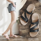 拖鞋女外穿時尚夏海邊沙灘鞋女士外出穆勒鞋網紅ins潮度假涼拖鞋 poly girl